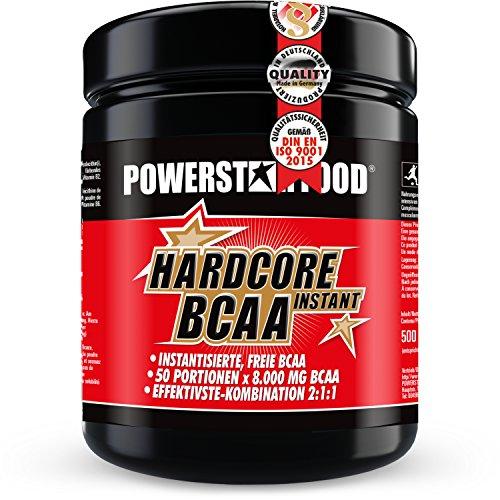 Instant HARDCORE BCAA Pulver - 500g - Spitzen Verhältnis 2:1:1 - Perfekte Löslichkeit & fantastischer Geschmack - 100% Muskelschutz & schnellere Regeneration - Made in Germany (Ice Tea, 500 g Dose)