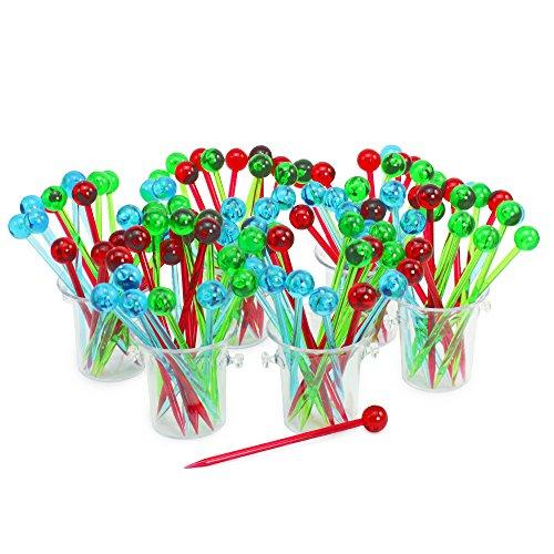 com-four® 108 Party Picker in bunten Farben, Cocktail-Spieße mit Kugelgriff im dekorativem Kübel, 10,2cm (108 Stück - 10.2cm)