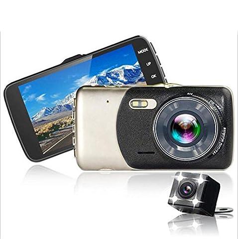 Lentille double Voiture DVR Route Caméra vidéo Dash Enregistreur Véhicule Circulation Tableau de bord Caméscope Avec caméra de sauvegarde arrière Écran 4