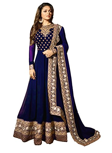 Mordenfab Blue New Semi Stitched Embroidered Heavy Work Anarkali Suits for Women for Party Wedding Wear Anarkali Suits/Salwar Suits (Blue)
