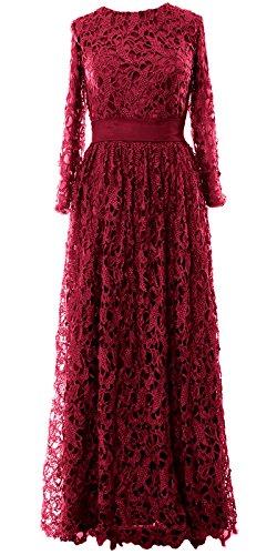 MACloth - Robe - Trapèze - Manches Longues - Femme Rouge - Rouge vin