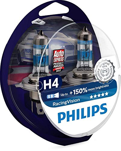 Philips RacingVision +150{0f33e1156948368c6b07a5ebf7aa50997444b950a98de6dd72768ea1072bb816} H4 Scheinwerferlampe 12342RVS2, Doppelset