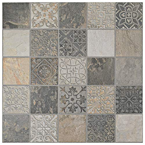 SomerTile FEM18OTO Autumno Porcelain Floor and Wall Tile Brown/Beige/Grey/Green 17.75 x 17.75