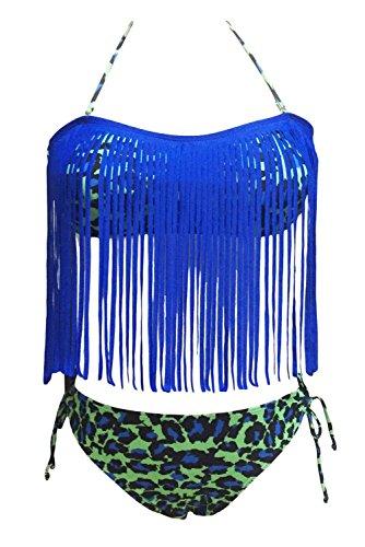 YARBAR Donna Costumi da Bagno Alto Con Stampa Floreale Frangia Swimsuit