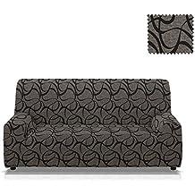 Funda de sofá elástica Fonda Tamaño 4 plazas (de 210 a 240 Cm.), Color Negro (Varios colores disponibles.)