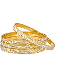 The Luxor Simple Dual Tone Alloy Bangles For Women ( Set Of 4 Bangles )
