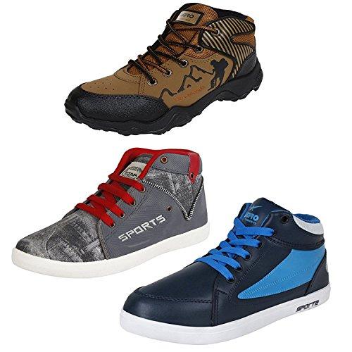 Earton Men's Multi-Colour Running Shoes-8 UK/India (42 EU)(Combo Pack of 3)