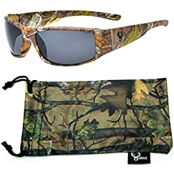 Hornz Brown Camuflaje del Bosque polarizados Gafas de Sol Hombres Full Frame Sport par Brazo & Free Matching Microfiber Pouch – Marco de Marrón Camo - Lente Humo