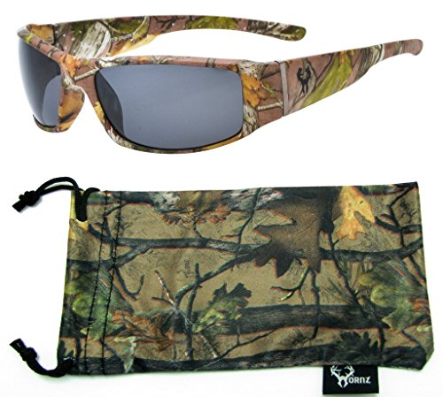 Hornz Forrest Braun Camouflage polarisierten Sonnenbrillen für Männer Volle Breite Arm Sport Rahmen & Free Matching Microfiber Pouch - Braun Camo Rahmen - Rauch- Objektiv