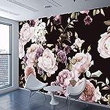 YWYWYWYW Benutzerdefinierte 3D Fototapete Wandbild Handgemalte Schwarz Weiß Rose Pfingstrose Blume Wandbild Wohnzimmer Wohnkultur Malerei Tapeten,150Cm(H)×230Cm(W)