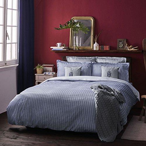 Satin Bettwäsche gestreift Denim 1 Bettbezug 135x200 cm + 1 Kissenbezug 80x80 cm ()