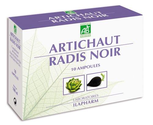 Laboratoires Ilapharm - Artichaut - Radis Noir BIO - Détox - Draineur - Plantes - Boîte de 10 Ampoules