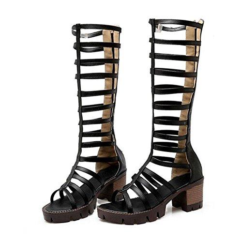 SHINIK Damen Sandalen Open-Toe Fersen Hollow Style Kombination von High-Rosay römischen Thick Schuhe Boot Black