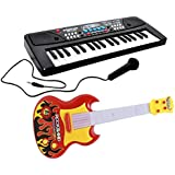 Dhawani Combo Of 37 Key Piano Keyboard Toy With DC Power Option, Recording And Mic With Musical Guitar (multicolor )With Light And Sound For Kids