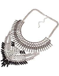 Yazilind Declaración de estilo étnico Rhinestone de la resina del babero del collar del collar del ahogador de regalo de la joyería de las mujeres