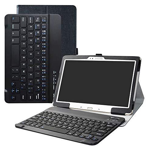 .5 Bluetooth Tastatur Hülle, Tasche PU Ledertasche mit Built in Abnehmbare Bluetooth Drahtlose Tastatur und Ständer Tasche Case für Samsung Galaxy Tab S 10.5 T800 T805,Schwarz ()