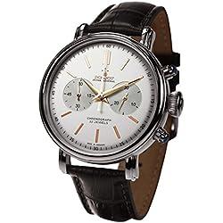 "'Poljot int. Cronógrafo reloj de hombre ""Classic Cuerda Manual mecánico banda de piel Russian Watch"