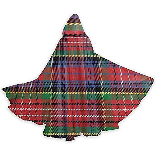 Scottish Kostüm Women's - Caledonia Scottish Traditional Pattern Erwachsene Tunika Hooded Knight Halloween Mantel Robe Kostüm Weihnachten, 59Inch (150,40Cm)