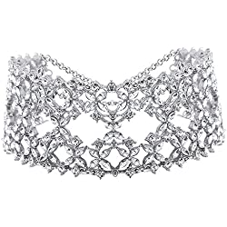 Young & Forever Trendsetter Clear Crystal Bridal Wedding Night Choker Necklace For Women Girls N360
