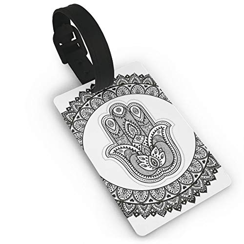 Lovely Travel Secure Luggage Tags for suitcases, Ancient Eastern Oriental Henna Hand and Mehndi Arabesque Tattoo Work of Art Print,Handbag Tag Labels ID
