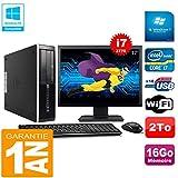 HP PC Compaq Pro 6300 SFF I7-3770 16Go 2To Graveur DVD WiFi W7 Ecran 17'