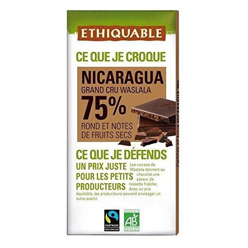 Ethiquable chocolat noir 75% cacao du nicaragua bio 100g - ( Prix Unitaire ) - Envoi Rapide Et Soignée