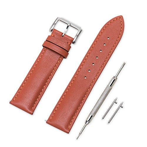VINBAND Unisex Leder Uhrenarmband mit Edelstahl Silberne Schnalle 22mm Braun