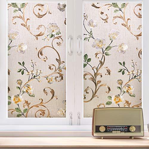 Fensterfolie Sonnenschutzfolie Milchglasfolie Glasdekorfolie Tönungsfolie Klebefolie selbstklebend Fensteraufkleber mit Pfingstrosenmuster (90x200)