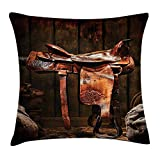 Pads bag Western Throw Pillow Cushion Cover, American West Traditional Authentic Style Rodeo Cowboy Saddle Wood Ranch Barn Image, Decorative Square Accent Pillow Case, 18 X 18 Inches, Dark Brown 45cm
