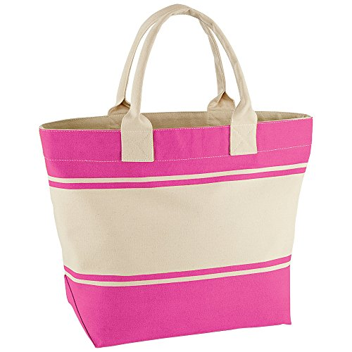 Quadra - Borsa in Canvas Rosa - Fuchsia / Natural