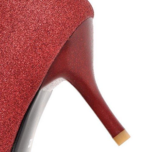 AllhqFashion Damen Pailletten Rein Ziehen Auf Spitz Zehe Hoher Absatz Pumps Schuhe Rot