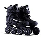Sunkini Adultes Hommes Inline Skate Shoes Freestyle Femmes Patinage Bottes En Plein Air Patins À Roulettes avec Protecteur Gear Noir (Taille : 41)