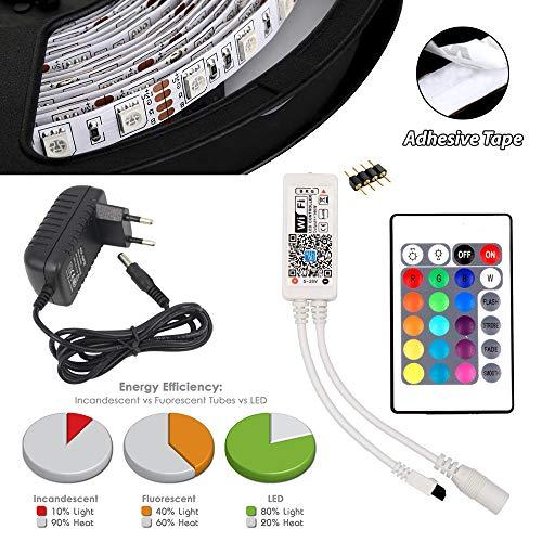 1m 2m 3m 4m 5m Komplettpaket Mehrfarbig 5050 12V IP20 RGB LED SMD Flexibel Licht Strip inkl. 24 Tasten IR Fernbedienung, Mini W-LAN WiFi Controller & AC/DC 12V Netzteil (1 Meter Komplettpaket) 1m 12v Led Strip