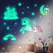 Unicornio Pegatinas Pared Decorativas Dormitorio Infantiles, Pegatina Pared Luminosas Estrellas Fluorescentes