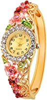 Kitcone Analogue Diamond Studded Beige Dial Women'S Watch
