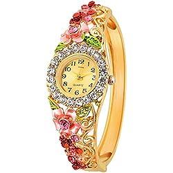 Kitcone Analogue Diamond Studded Beige Dial Women'S Watch