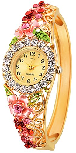 Kitcone Analogue Diamond Studded Beige Dial Women\'S Watch