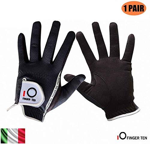 Finger Zehn Herren Golf Handschuh Paar beide Hand Value Pack Hot Wet Rain Grip, Farbe schwarz grau Fit Small Medium Large XL, Schwarz, XL-1 Pair