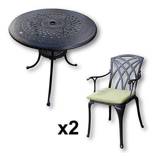 Lazy Susan - Anna 80 cm Runder Gartentisch mit 2 Stühlen - Gartenmöbel Set aus Metall, Antik Bronze (April Stühle, Grüne Kissen) (Lazy Susan Tisch)