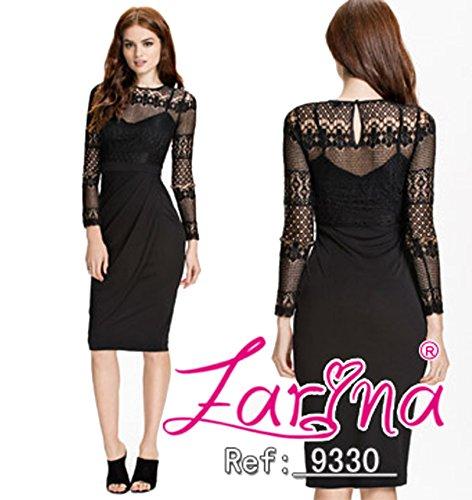 ZARINA -  Vestito  - fasciante - Maniche lunghe  - Donna Nero