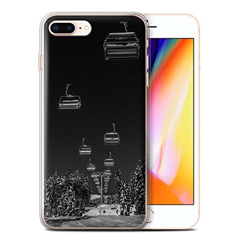 Stuff4 Gel TPU Hülle / Case für Apple iPhone 8 Plus / Pulver Tag Muster / Skifahren/Snowboard Kollektion Ski Aufzug