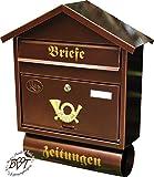 Briefkasten, Premium-Qualität, verzinkt, pulverbeschichtet Spitzdach S/c kupfer kupferfarben braun + Zeitungsfach Zeitungsrolle Postkasten
