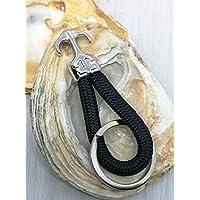 Kleiner Schlüsselanhänger von ALSTERschmuck - 100% Recycelten Polyesterseil - schwarz