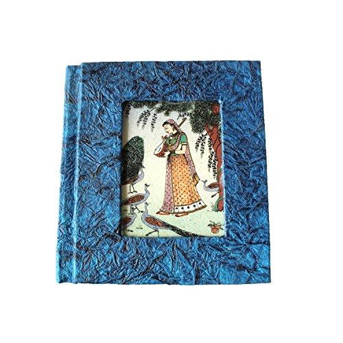 Splendid Indian prächtige indische traditionelle Miniatur-Edelstein-Malerei auf Glas handgemachte Recycling-Papier Adressbuch (Tagebuch)