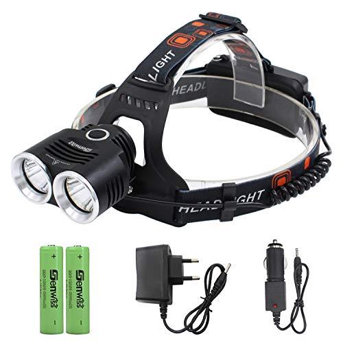 Siuyiu 2 * XM-L2 LED Aluminiumlegierung Stirnlampe Kopflampe Taschenlampe 6000 Lumen 3 Modi Super-T6 für Camping Biking Arbeits Jagen Fischen Reiten (Schwarz)