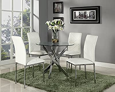 Round Dining Set with 4 White Chairs