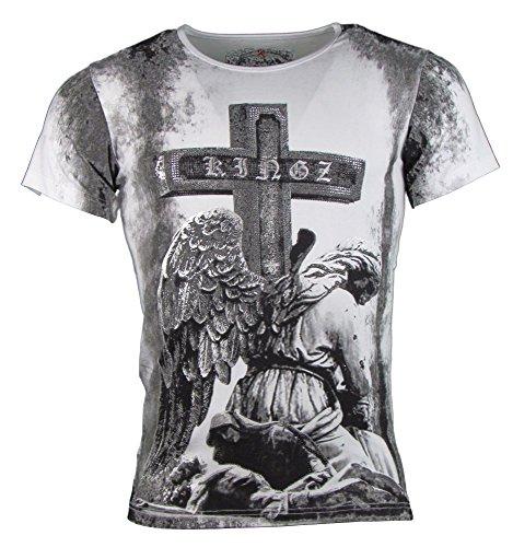 T-shirt - KINGZ - Kreuz Motiv - mit Strass Steinen - weiß Größe XXL (Cross Print Snake)