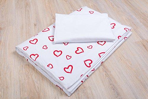 Amilian® Baby Bettwäsche Design: Herzen Rot/ Weiß 100x135 cm (40x60 cm) Bettset Kinderbettwäsche (Rote Baby-bettwäsche)