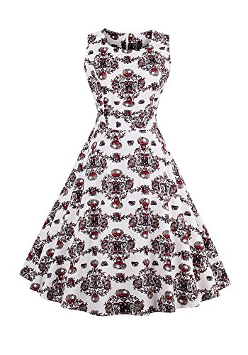 MISSEUROUS Damen Elegant Frauen - retro - um Den Hals floral Druck von Großen Swing - Kleid A