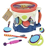 B. toys by Battat - B. Drumroll - Toy Drum Set (Includes 7 Percussion Instruments for Kids)
